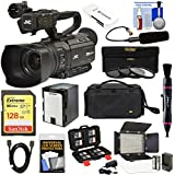 JVC GY-HM250U Ultra 4K HD 4KCAM Professional Camcorder & Top Handle Audio Unit with XLR Microphone + 128GB Card + Battery + Case + LED Video Light Kit