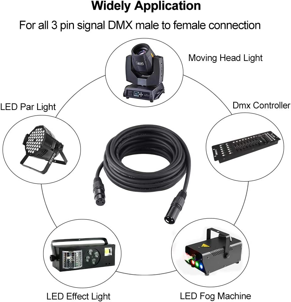 25ft // 7.62m DMX Cable HiLite 3 Pin DMX Cables DMX Wires DMX512 XLR Male to Female Stage Light Signal Cable with metal connectors Connection for Stage /& DJ Lighting fixtures