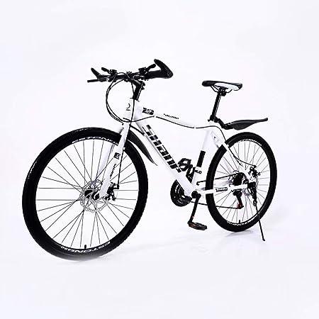 Bicicleta de Montaña Plegable 24/26 Pulgadas 21/24/27 Velocidades, Doble Amortiguación Bicicleta Doble Disco Bicicletas de Carretera Carreras Bicicleta de Campo a Través Adulto/Blanco: Amazon.es: Hogar