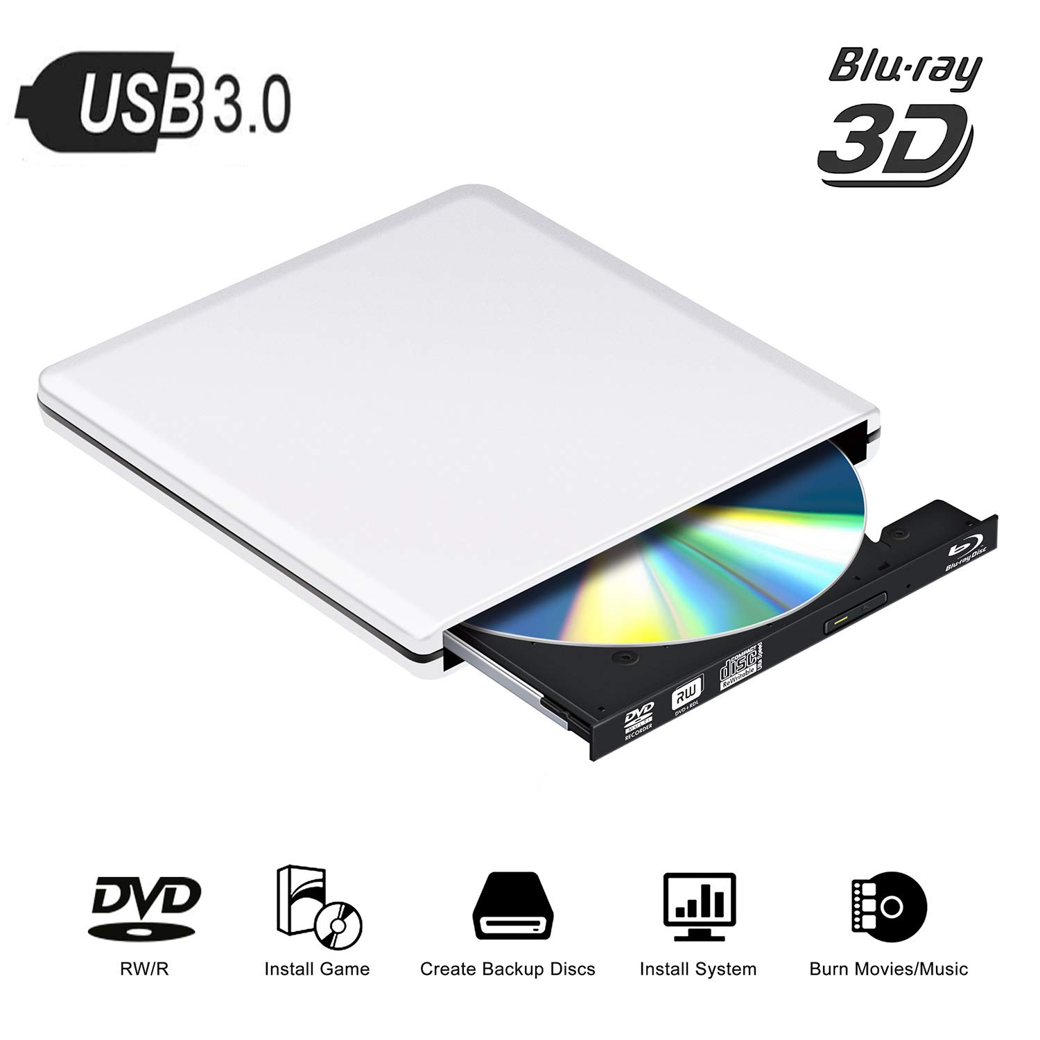 External Blu Ray DVD Drive 4K 3D, USB 3.0 Portable Bluray CD DVD Player Reader Optical RW Row Disk Burner for Laptop Mac OS, Windows 7/8/10,Linxus, PC,Desktop (Silver) by PiAEK (Image #1)