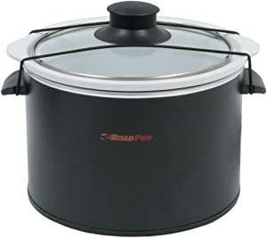 RoadPro-RPSL-350 Quart Slow Cooker, Auto Travel, 12V, White, 1.5 Quart
