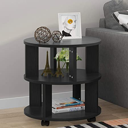 Tribesigns Mobile Chair Side End Table, 3-Tier Modern Night Stand Bedside Table with Storage Shelves and Rolling Wheels for Living Room, Bedroom Black