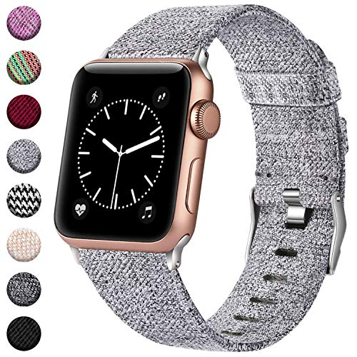 - Haveda Bands Compatible with Apple Watch Band 42mm 44mm, Woven Fabric Canvas Wrist Band for Women Men with iWatch Series 4 Series 3/2/1, Light Gray