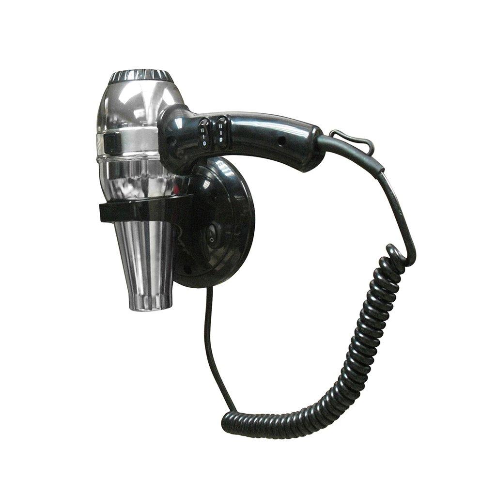 Asciugacapelli professionale phon da parete a muro nero cromato nofer 02057