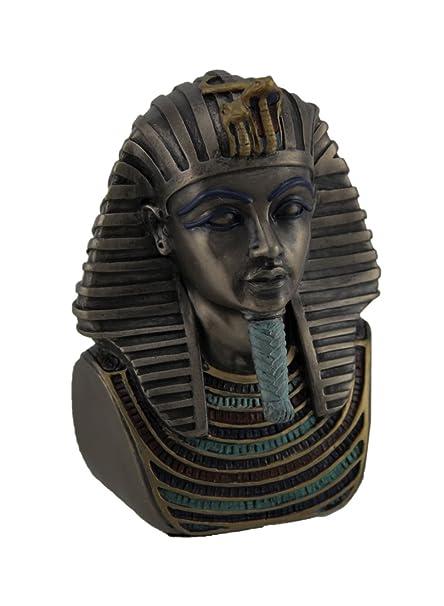 Resina estatuas metálico acabado en bronce King Tut muerte máscara Mini Estatua 2,5 x