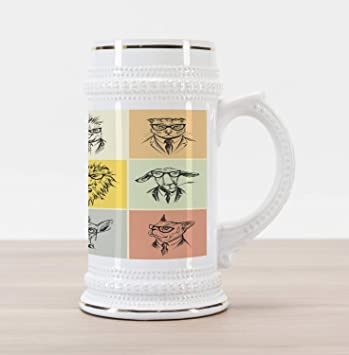 b1685e56db24 Ambesonne Modern Beer Stein Mug, Hipster Animals Monkey Camel Cat Lion Goat  Tiger Business Man