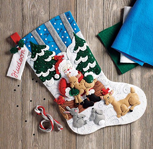 Bucilla 86865 Santa's Forest Family Kit Stocking, Multi by Bucilla