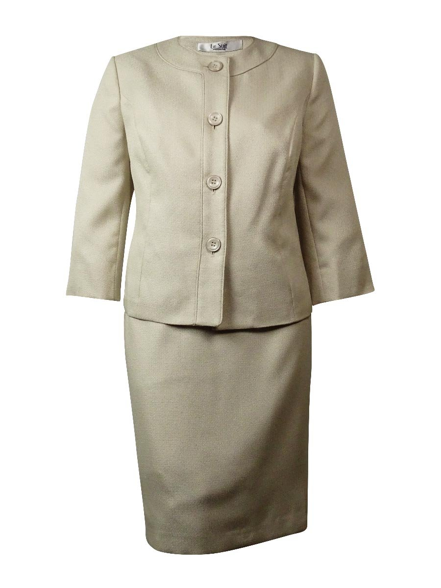 Le Suit Women's 3 Button Tweed Collarless Skirt Suit Set, Butter Cream, 10