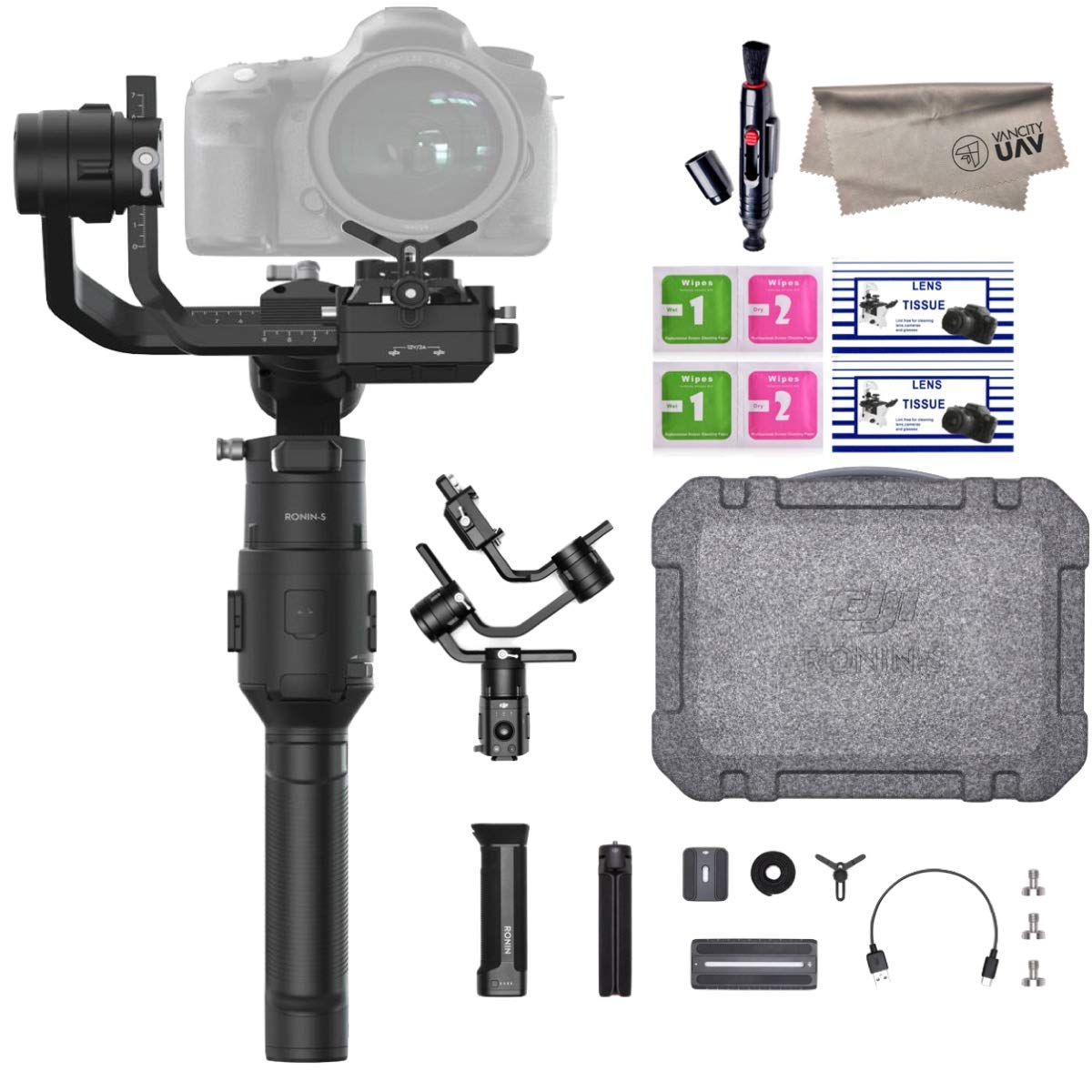 2019 DJI Ronin-S Essentials Kit 3-Axis Gimbal Stabilizer for Mirrorless and DSLR Cameras, Tripod, Gimbal Hook and Loop Strap, 1 Year Limited Warranty, Black(CP.RN.00000033.01) by DJI