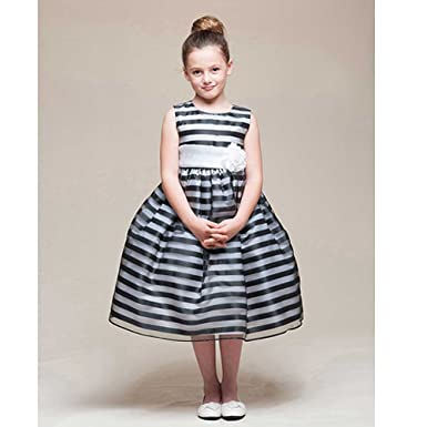 Amazon Crayon Kids Girls 4t Black White Stripe Tea Length