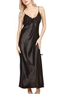 ETAOLINE Women Satin Nightgown Lace Lingerie Trimmed Full Length ... 195ecca8b