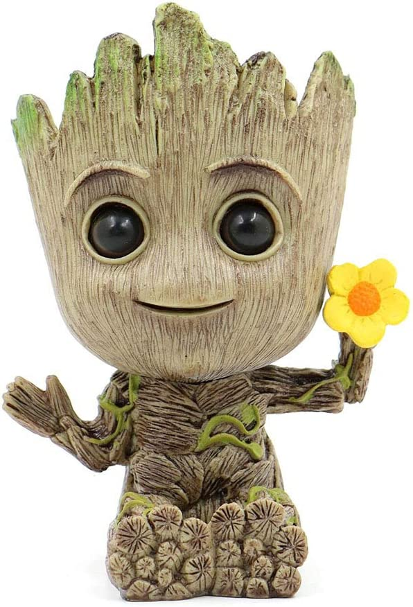 Baby Groot Flowerpot Super Cute Flowerpot Treeman Baby Groot Succulent Guardians of The Galaxy Party Ornament Christmas Birthday Gift (B)
