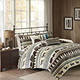 D&A 6 Piece Teal Brown Stripe Full Queen Duvet Cover Set, Lodge Animal Print Themed Bedding, Cabin Country Tartan Pattern Cottage Woods Bears Deer Pine Trees Horizontal Diamond Patterns,Polyester
