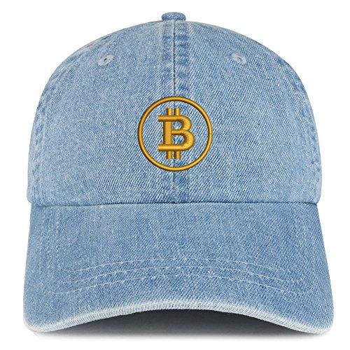 Bitcoin Embroidered 100% Cotton Denim Cap Dad Hat - Light Blue ()