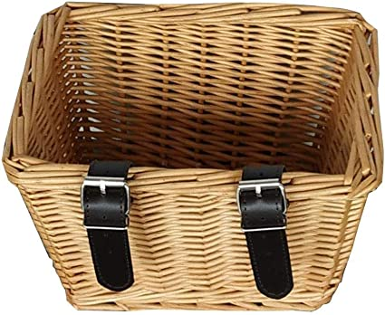 Traditional Wicker Rattan Woven Front Bicycle Basket with Leather Style Straps