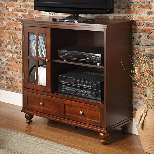 Schererville TV Stand with 2 Drawers/2 Open Shelves/1 Cabinet and TV Size Accommodated: 42'' Made of Pine Wood/Birch Veneer in Espresso Finish 36'' H x 36'' W x 15.15'' D in. 2 Drawer Birch Cabinet