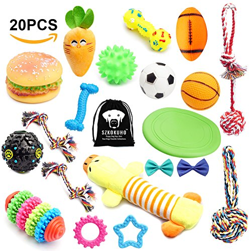 Flying Disc Toy (SZKOKUHO Puppy Dog Toys Set Dog Accessories—Plush Toys,Dog Ropes,Squeaky Toys,Chew Toys,Dog Balls,Dog Bone Toy,Dog Flying Discs,Dog Bow Tie (20 Pack))