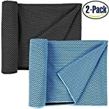 NUOYIGAOGE Cooling Towel, Snap Cooling Towel for Sports / Workout / Fitness / Gym / Yoga / Pilates / Travel / Camping, Pack of 2