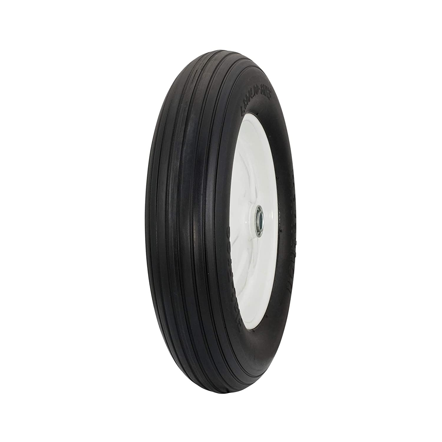 "Marathon 4.80/4.00-8"" Flat Free Tire on Wheel, 3"" Hub, 3/4"" Bearings, Ribbed Tread"