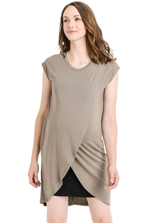 f91b29271d4bf Hello MIZ Color Block Asymmetrical Breastfeeing Maternity Nursing Dress