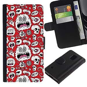 Caso Billetera de Cuero Titular de la tarjeta y la tarjeta de crédito de la bolsa Slot Carcasa Funda de Protección para Samsung Galaxy S5 V SM-G900 Alien Monster White Wallpaper Art Sk