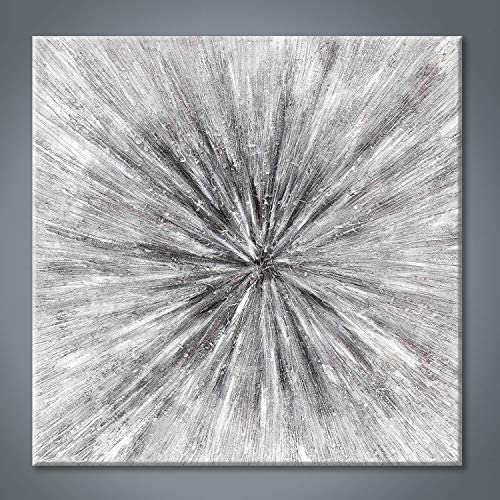 Abstract Painting Canvas Wall Art Gray Artwork Hand Painted Picture for Office 24 x 24 x 1 Panel