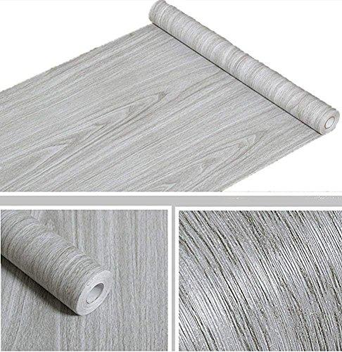 Cheap  Amao Grey Wood Grain Contact Paper Peel & Stick Wallpaper for Shelf..
