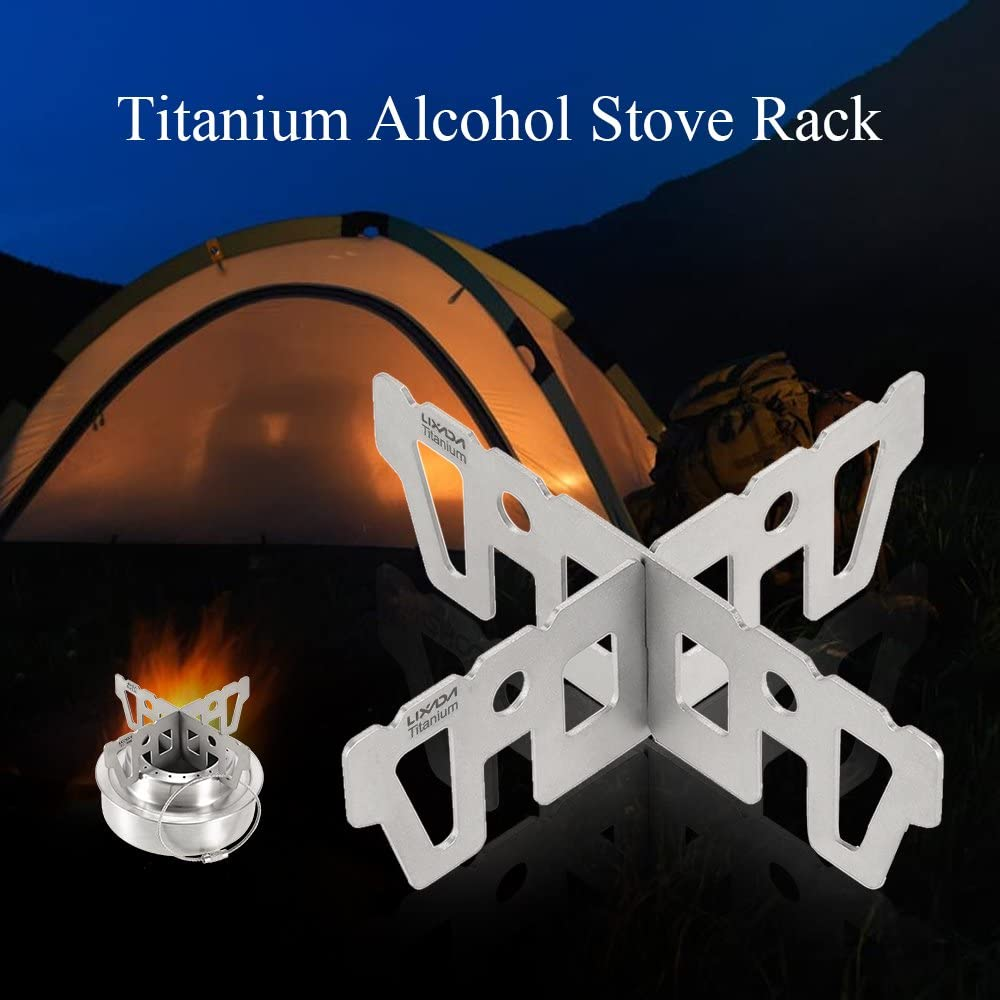 Lixada Titanium Alcohol Stove Rack Combo Set Mini Ultralight Portable Liquid Alcohol Stove with Cross Stand Stove Rack Support Stand Optional