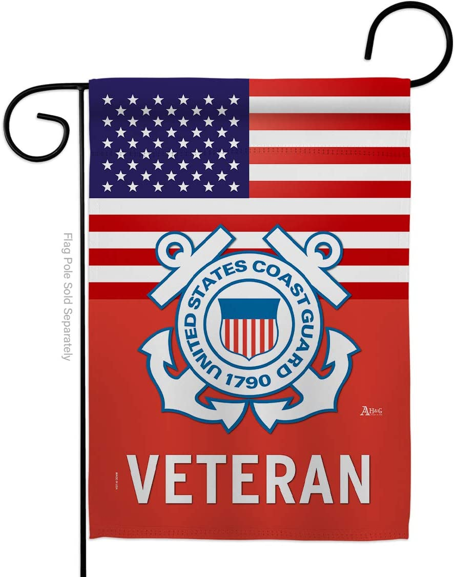 US Coast Guard Veteran Garden Flag - Armed Forces USCG Semper Paratus United State American Military Retire Official - House Decoration Banner Small Yard Gift Double-Sided Made in USA 13 X 18.5