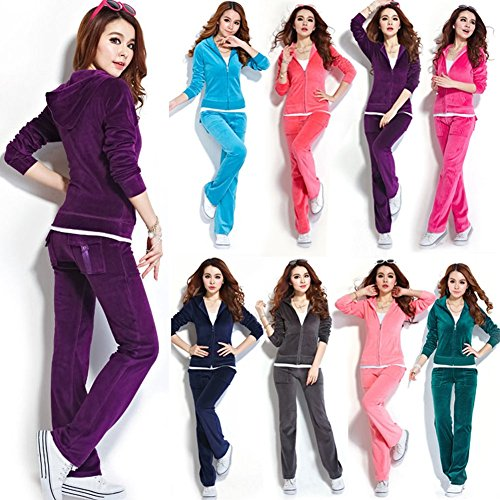 SPRINGWIND Women'S Velour Hoodie+Pant Tracksuit Sport Sweat Suit Set Peacock Blue XS