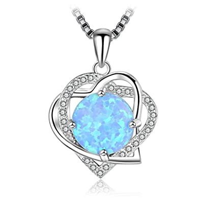JFUME Mothers Day Gift Set Japan Blue Opal Pendant Necklace Heart 925 Sterling Silver Gift for Women Jewelry Adjustable NAoG6tmue