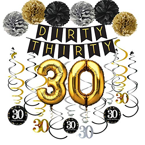 30th Birthday Party Pack – Black & Gold Dirty Thirty Banner, Poms, Sparkling Happy Birthday 30 Hanging Swirls for 30th Birthday Party Supplies -