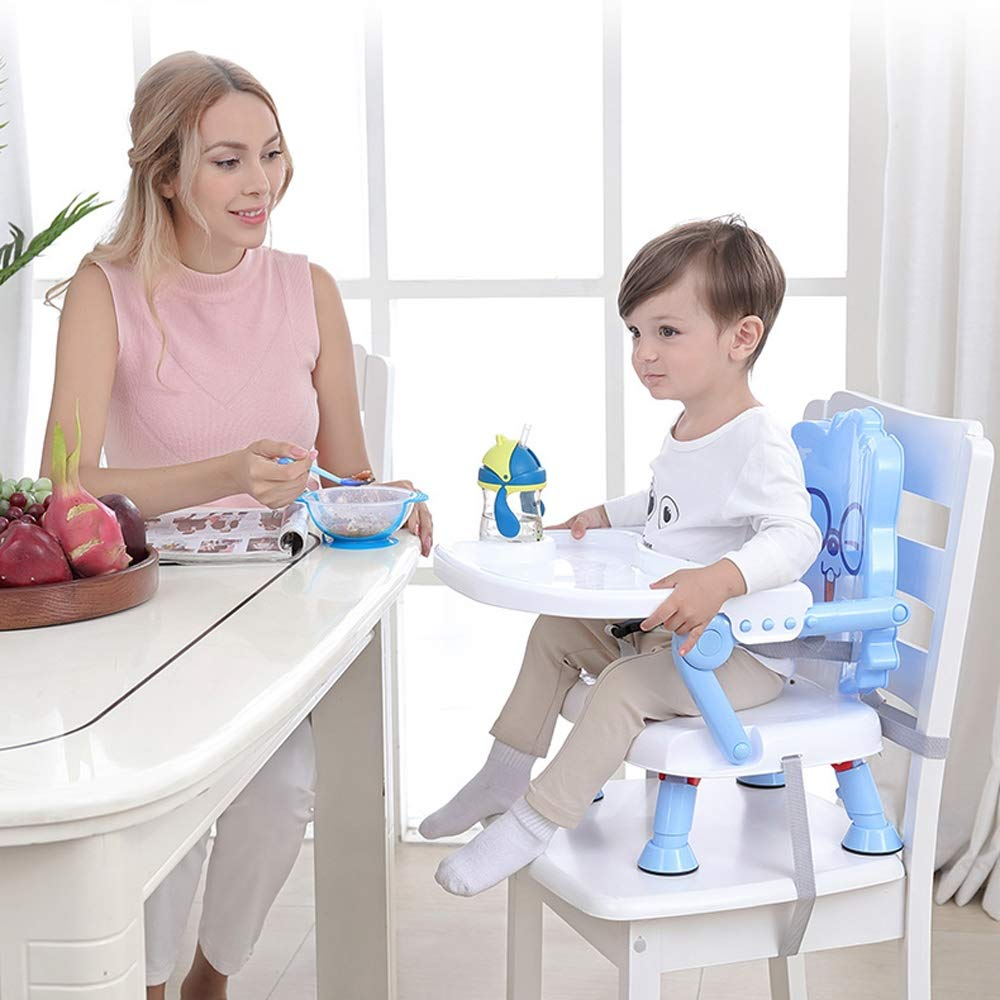 Swttppy Child Kids Feeding Chair Stool Baby Eating Table Dinner Table Adjustable Baby Highchair Removable Tray Booster Seat Portable Baby High Chair Feeding Tray Padded Seat (Color : Blue) by Swttppy