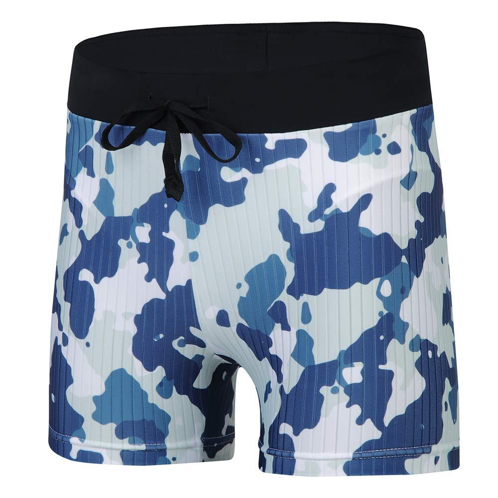 BELE ROY Swim Boxer Trunks Men Short Swimming Brief Square Leg Swimsuit Short Jammers Green L by BELE ROY