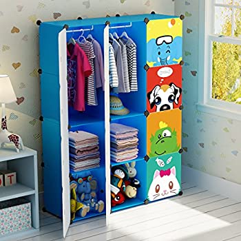 Charmant KOUSI Portable Clothes Closet Wardrobe Freestanding Cute Cartoon Storage  Organizer With Doors For Kids , Large