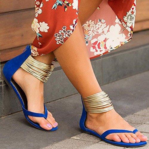 Toe Sandales Gladiateur Décontractée Fermeture Retourner Été Lanière Femme Clip Flops Bleu Noir Yying Bohême Plate éclair Chaussures Plage Sandales Bleu qSEw1xWz