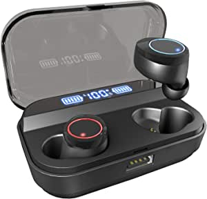 U-ROK Wireless Earphones Bluetooth 5.0 Earbuds with 3000mAh Charging Case LED Digital Display Touch Control 90H Playtime in-Ear Bluetooth Headphones IPX7 Waterproof Headset Built-in Microphone True wireless earbuds for Sports, Gym and Running