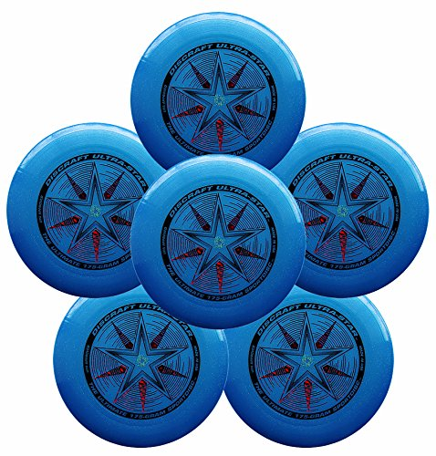 Discraft Ultra-Star 175g Ultimate Frisbee Sport Disc (6 Pack) Sparkle Blue
