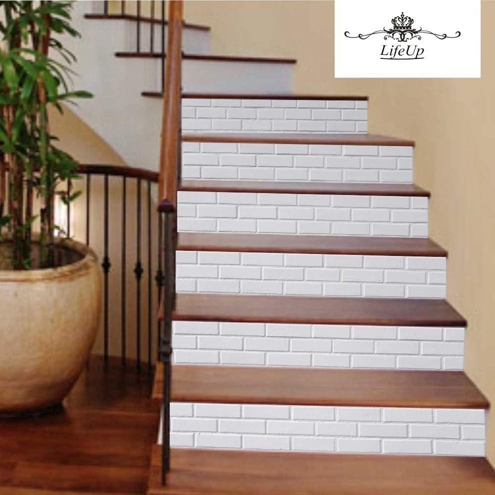 LifeUp Calcomanías Escalera Etiquetas engomadas de la Teja, Etiquetas engomadas Impermeables de la Escalera, Calcomanías de Vinilo removible para el baño de la Cocina, 6 Piezas (03): Amazon.es: Hogar