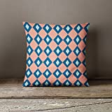 Pink Blue Diamond Pillow Cover