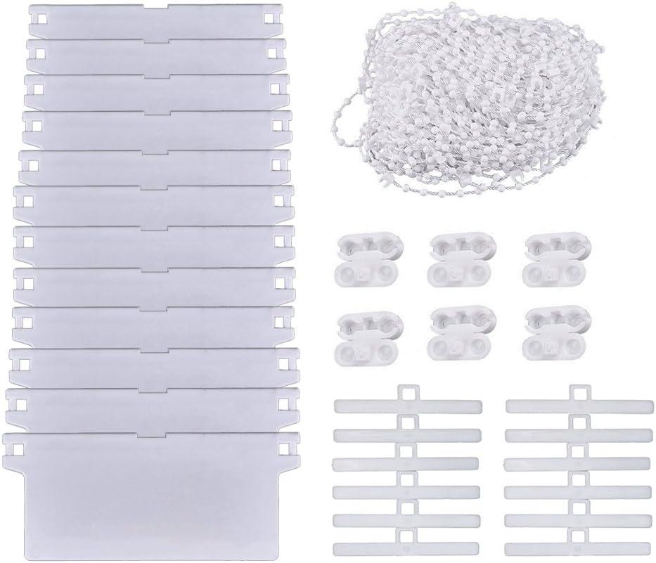 SAIYU kit de reparación para persianas verticales,12 paquetes de 45 * 89 mm de listones de pesas inferiores,12 paquetes colgadores superiores,cadena de persiana de 10m,conectores de cadena de 6 piezas
