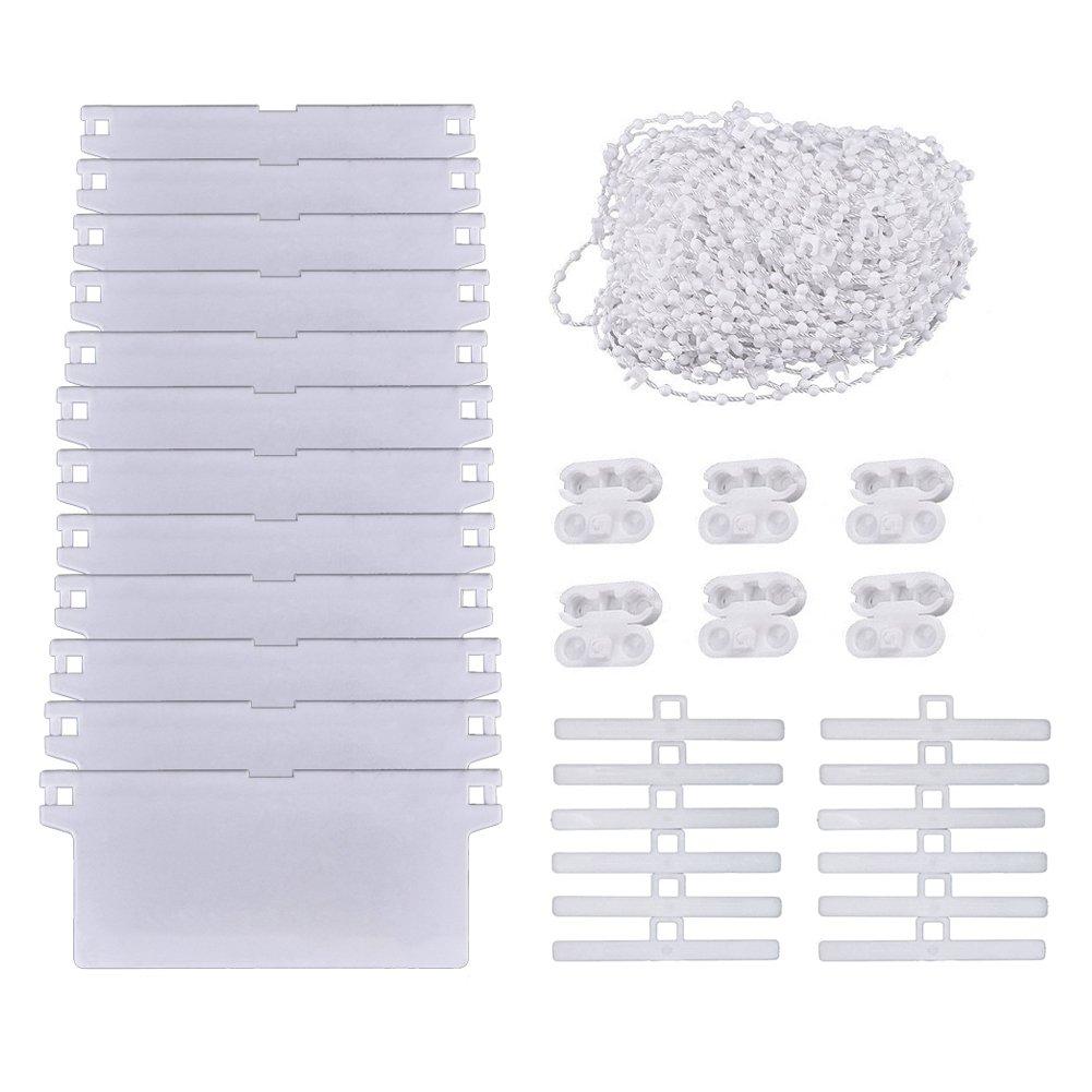 Kit de réparation de stores verticaux SAIYU Kit de réparation de stores verticaux avec 12 compartiments de 45 mm * 89 mm de poids et de 12 embouts supérieurs et 10 M de chaînes verticales avec 6 embouts en plastique
