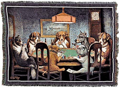 Pure Country Weavers | Dogs Playing Poker Woven Tapestry Throw Blanket with Fringe Cotton USA - Dogs Playing Coolidge Pool