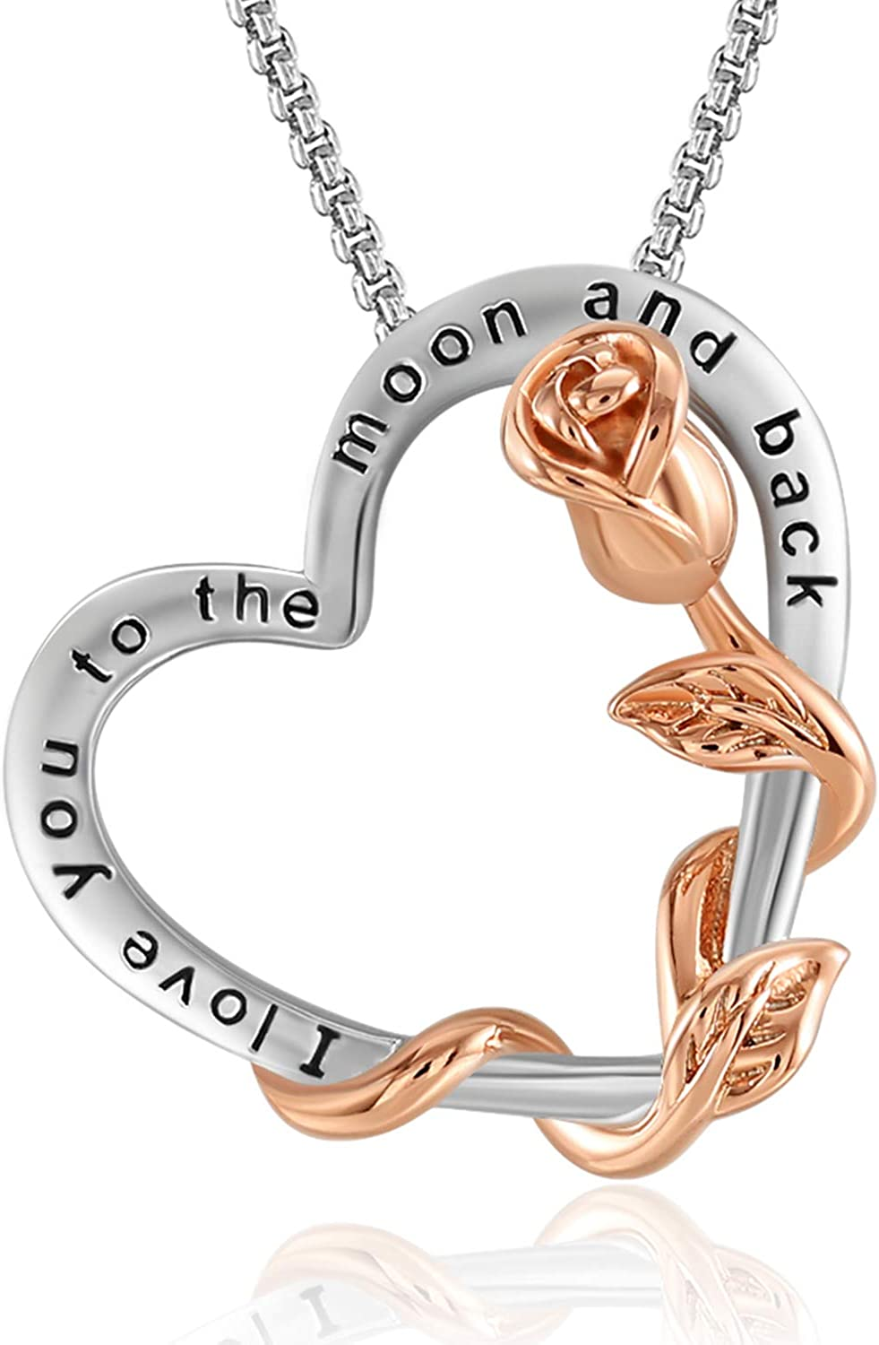 SNZM I Love You to The Moon and Back Necklace for Women Mothers Day Jewelry Gift Rose Heart Necklace for Mom Wife