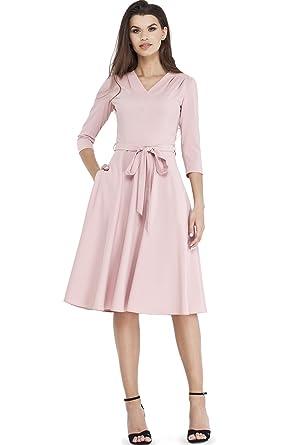 68757223bfa9 VILONNA Women's Elegant 3/4 Sleeve V Neck Belted Semi Formal Midi Dress  with Pockets