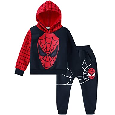 2PCS Toddler baby boys spider-man Outfits Hooded tops+pantst kid Clothes set