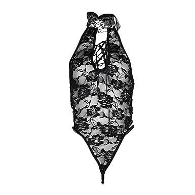 7e600265d Amazon.com  Diomor Women Lace Lingerie Nightwear Underwear G-String  Babydoll Sleepwear Bodysuit Valentine s Day Present Gift  Clothing