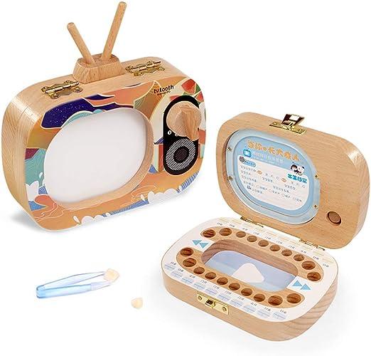 EEGR Caja de Dientes de bebé Organizador de Madera Guardar ...