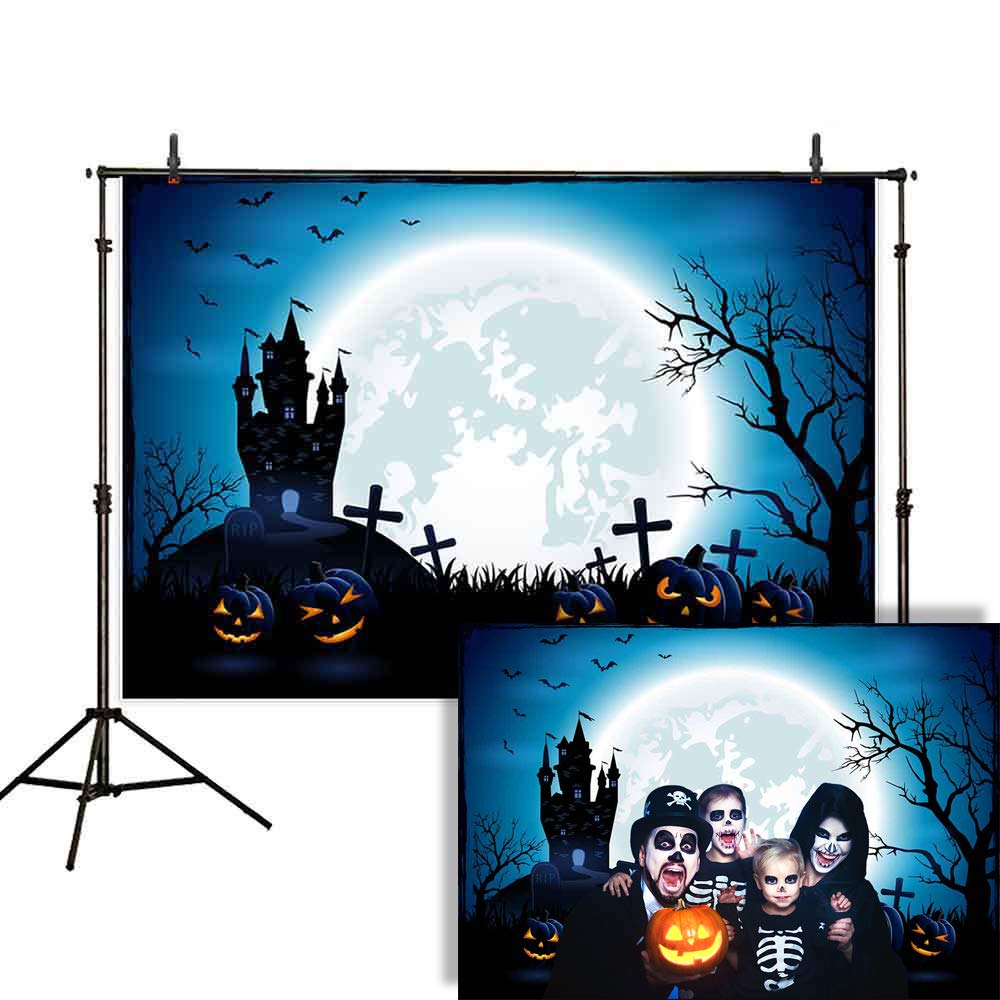 Allenjoy 7x5ft Happy Halloween Backdrop Night Blue Sky and Moon Jack O'Lantern Pumpkin Lantern Scary Castle Photography Background Children Party Decorations Cake Table Banner Photo Studio Booth by Allenjoy