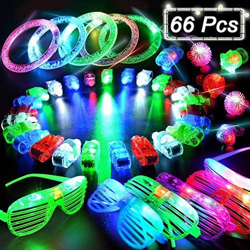 BUDI 66 Pack LED Glow Party Favors for Kids/Adults 50 Light Up Rings + 6 Jelly Bumpy Rings + 5 Flashing Shutter Shade Glasses + 5 Led Bracelets Glow in The Dark Party Favors Glow Party Supplies